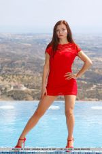 Berenice Strips Her Sexy, Red Dress As She Flaunts Her Hot Body and Shaved Pussy By The Pool 3