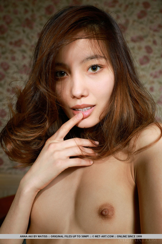 Anna Aki Displays Her Petite Body And Small Shaved Pussy On The Bed 3
