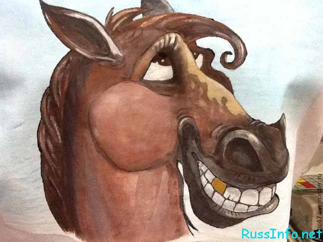 Смешная лошадиная морда рисунок