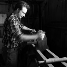 Paul, setting up a old wooden lathe