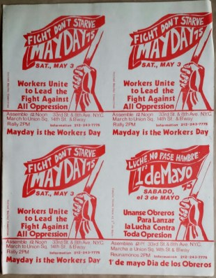 Uncut sheet of stickers promoting a May Day event organized by the Revolutionary Communist Party, United States, 1975.