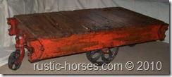 rustic red restored vintage factory cart table $295