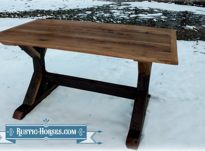 new twist on the trestle x table, made with a cedar barn wood base
