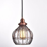 YOBO Lighting Vintage Cracked Glass & Rustic Wire Ceiling ...