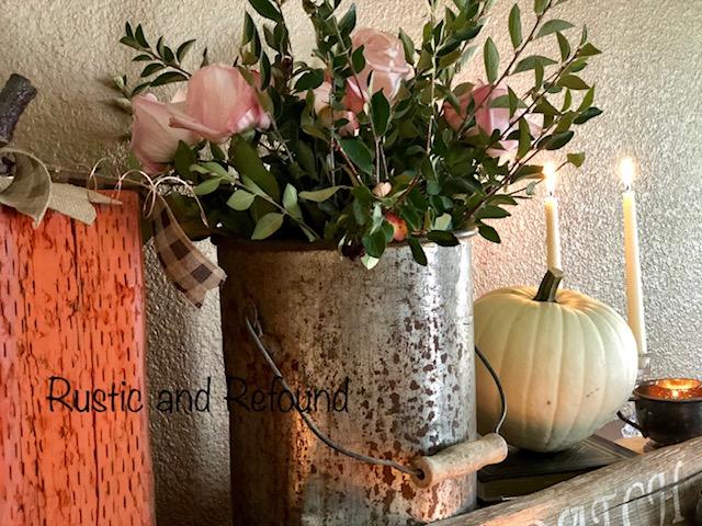 autumn display with white pumpkin
