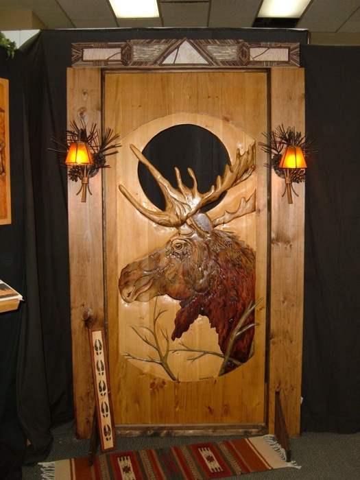 Carved Wood Door  Moose  Rustic Artistry