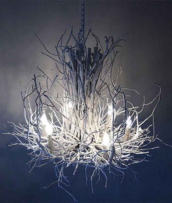 White Branchelier Twig Chandelier Alachian Wish Designs