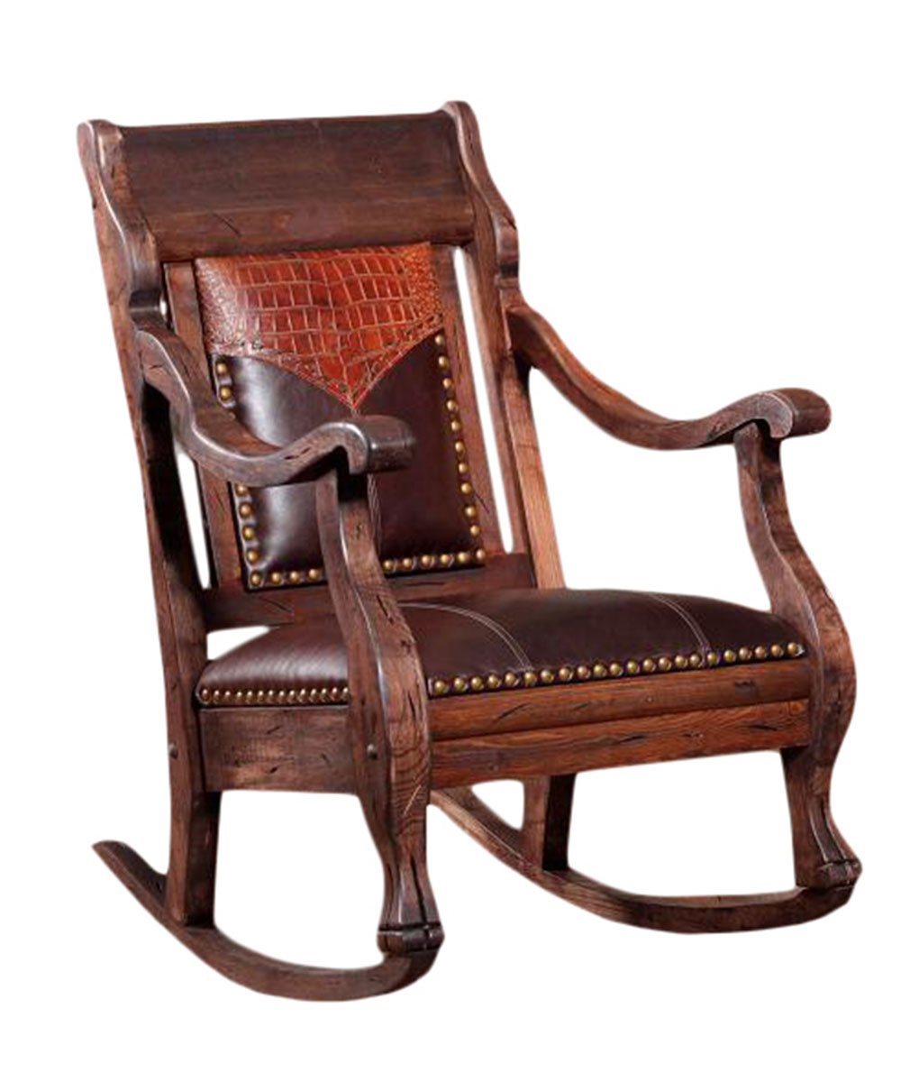 Leather Rocking Chair Vintage Rocker