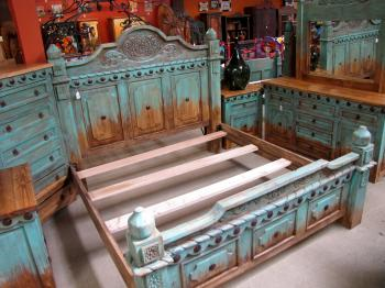 Southwest Style Turquoise Bed with Conchos