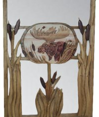 Carved Wood Screen Door | Moose and Cattails - Rustic Artistry