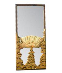 Carved Wood Screen Door | Mountain Sunrise - Rustic Artistry