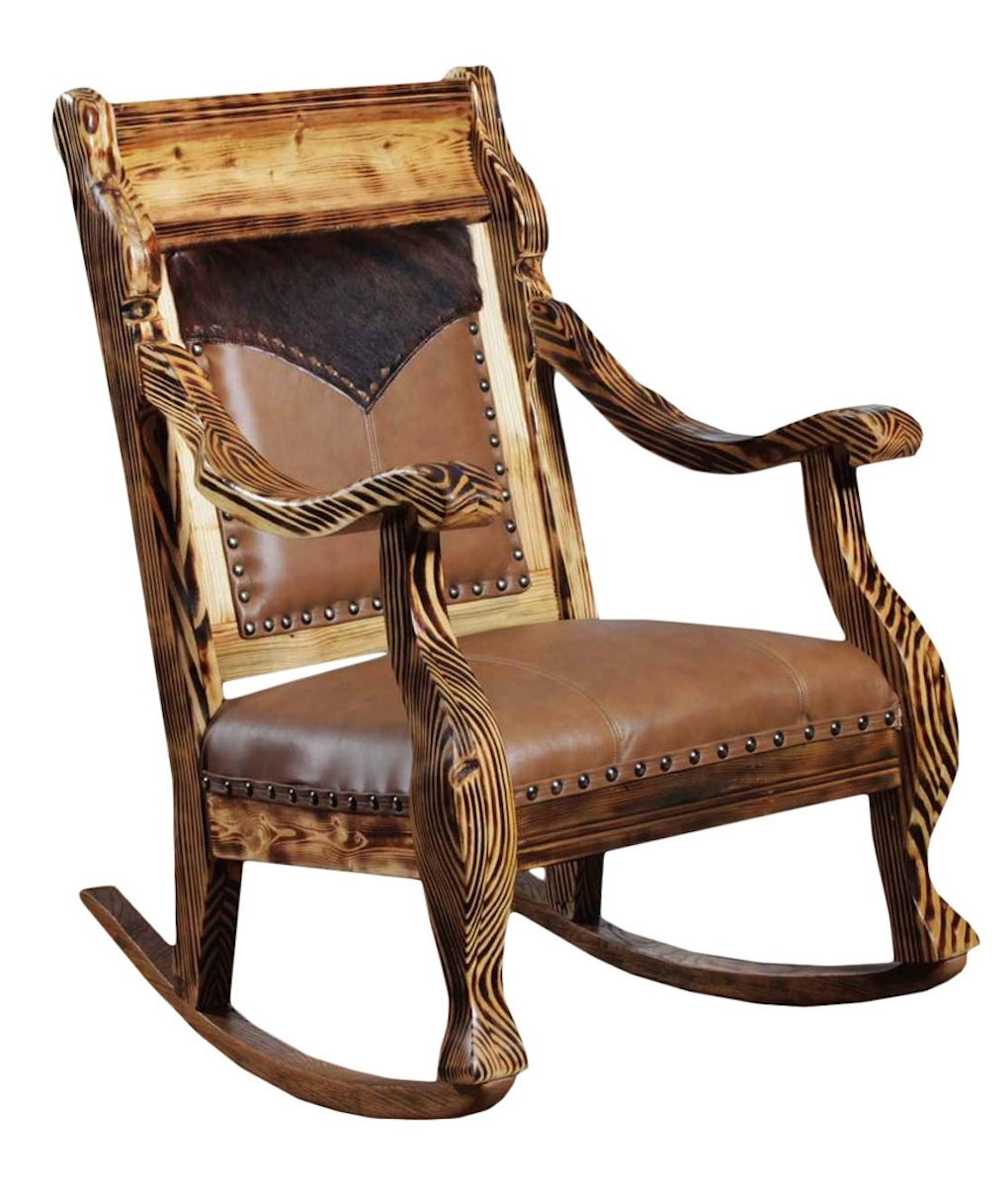 Cowhide  Leather Rocker  RusticArtistrycom  Rocking Chair