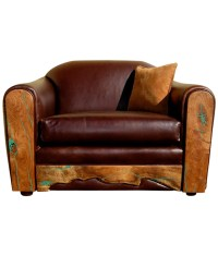 Western style leather arm chair with turquoise inlaid mesquite