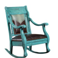 Turquoise Chairs Leather Chiffon Chair Sash Rocker Rustic Artistry Distressed Finish Rocking With Seat And Crocco Embossed Yoke Western Furniture