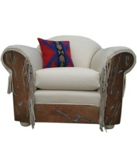 Western Leather Arm Chair with Inlaid Turquoise
