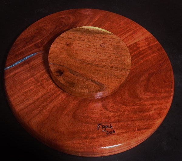Round Wood Chip And Dip Platter With Turquoise Inlay