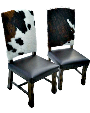 Western Cowhide and Leather Dining Chairs Bar Stools