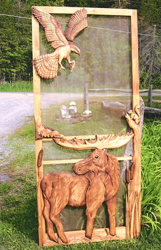 Carved Wood Screen Door  Custom for J Vanais  Rustic Artistry
