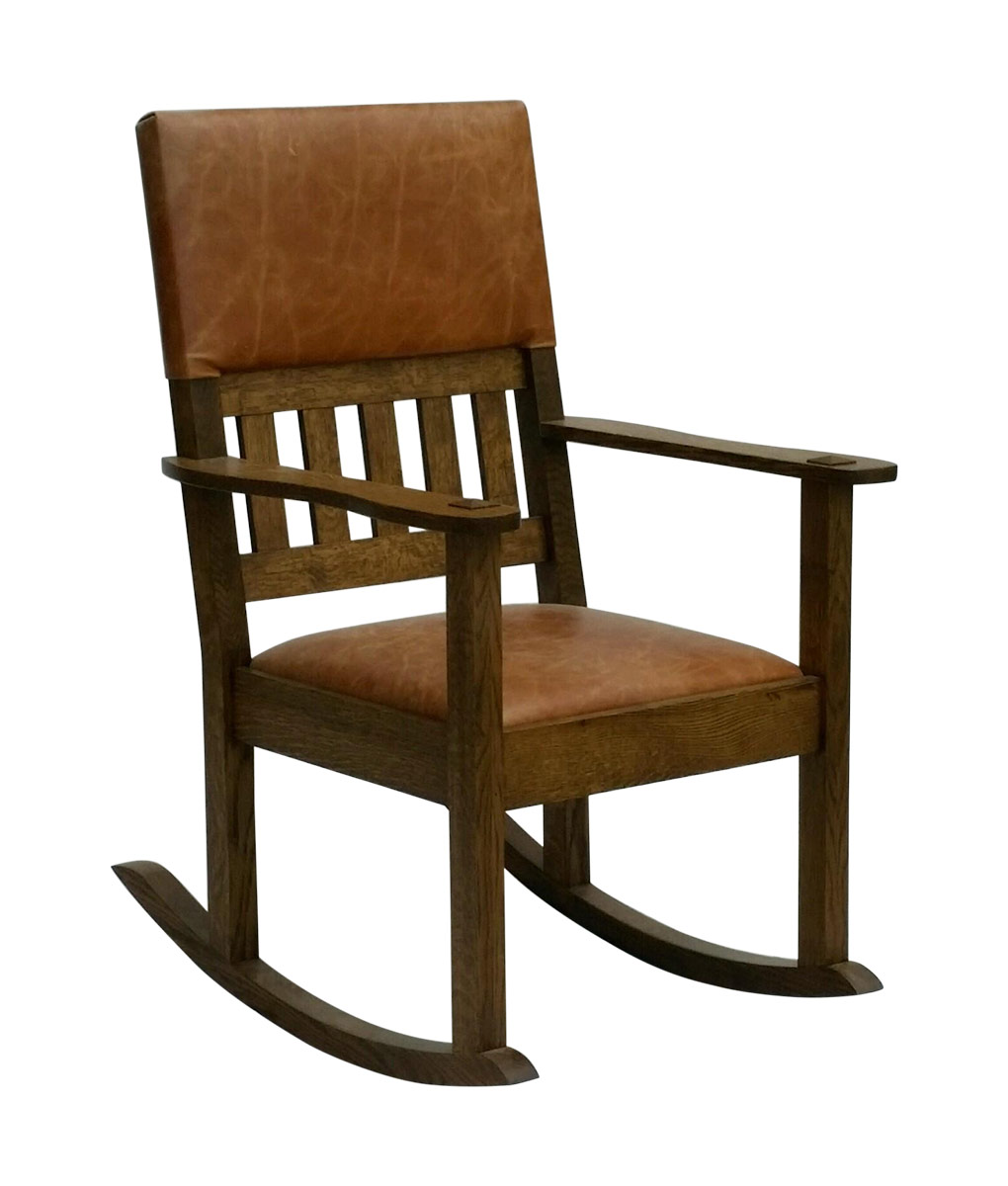 cedar rocking chairs chair covers quality stickley mission craftsman style with leather seat