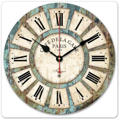 12″ Vintage Roman Numeral Design France Paris Rusted Metal Look French Country Tuscan Style Paris Wood Wall Clock