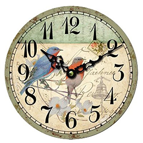 Coxeer® 12″ Rural Countryside Retro Birds Mute Decorative Wooden Wall Clock