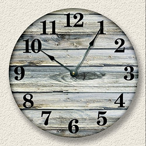 Rustic Wall Clock Weathered Boards Beach Sand Tan cabin country decor