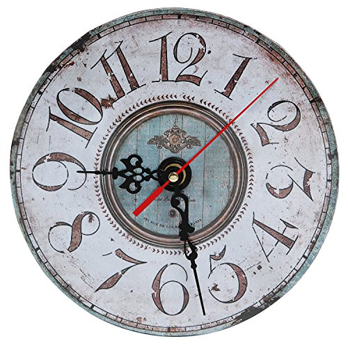 Decorative Rustic White Antique Style Round Wood Wall Mounted Analog Clock – MyGift® Home