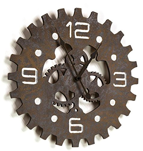 Rustic Gear Wood Wall Clock
