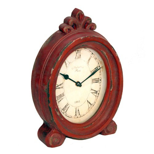 Rustic and Vintage – Red Decorative Large Wooden Table Clock – 7.25″ X 11.5″""