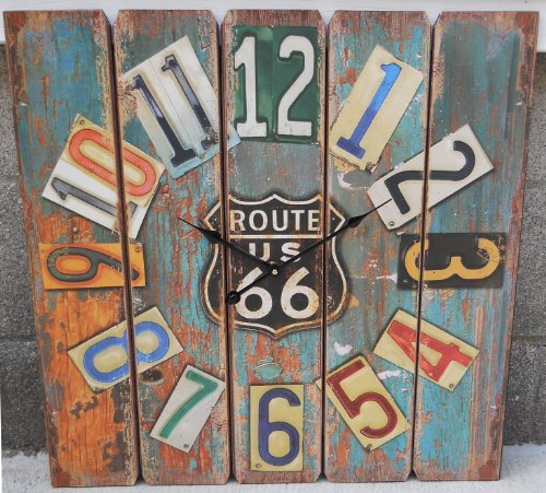 Wooden Route 66 Clock