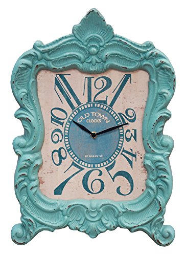 Shabby Vintage Aqua Mantel Clock Weathered Home Decor Accent 19 Inches