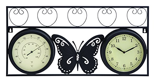 Deco 79 35420 Metal Outdoor Clock Thermometer, 25 by 13-Inch