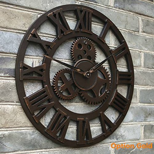 Clock Mania – Gold Oversized large 3D retro rustic decorative luxury art vintage big gear wooden wall clock large on the wall