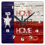 Sentimental and Patriotic Home sweet Home Texas Square Wall Clocks