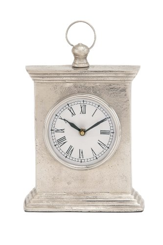 Deco 79 Aluminium Table Clock, 7 by 10-Inch, Silver