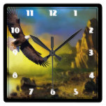 A Patriotic Design with Bald Eagle Flying High Square Wallclocks