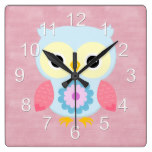 Beautiful Colorful Custom Spring Owl Square Wallclock