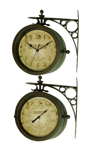 Infinity Indoor/Outdoor 8″ The Charleston Double Sided Clock & Thermometer – 12430CT-RUV2