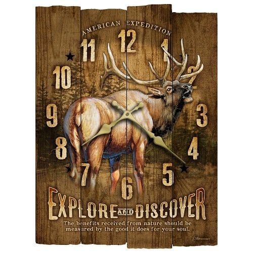 American Expedition Elk Wooden Wall Clock