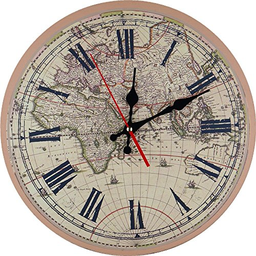 14″ Antique Rustic Wood World Map Wall Clock On The Wall For Home Decor
