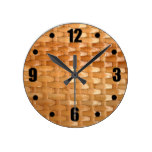 Glossy Wicker Basketweave Texture Look Round Clocks