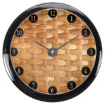 Lacquer Wicker Basketweave Texture Look Aqua Clock