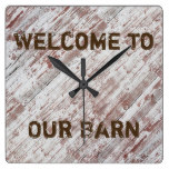 Rustic, Country, Welcome To Our Barn Clock