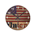 Vintage USA Union Flag Round Wall Clocks