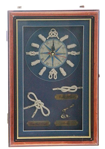 JustNile Hanging Key Cabinet – Rustic Nautical-Themed Clock