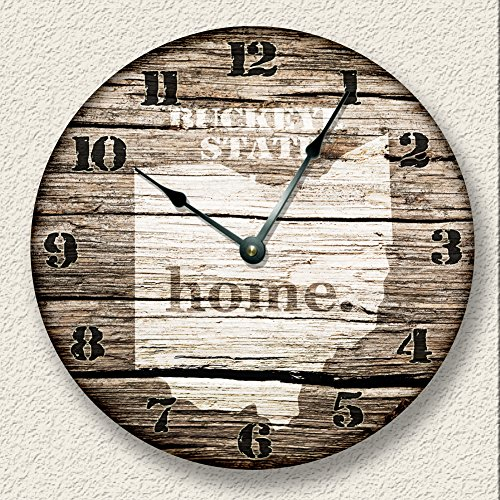 OHIO State Wall Clock old weathered boards rustic cabin country decor