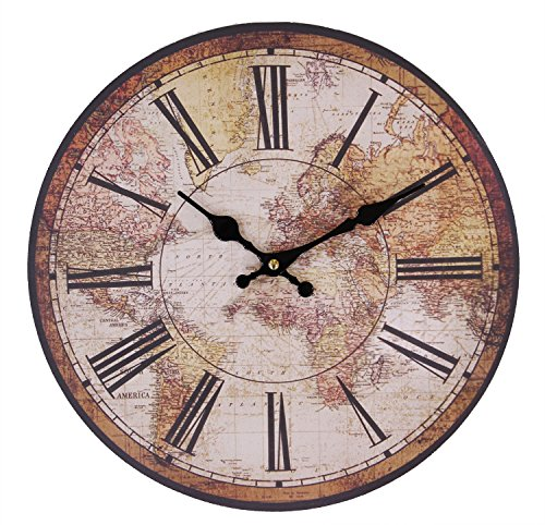 JustNile Rustic Country-Style Round Wall Clock – 13″ Roman Digits/Atlas Dial