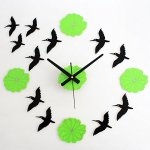 Yikebo(TM) Elegant Geese Green Lotus Leaves Creative Rustic DIY Self Adhesive Acrylic Living Room Decoration Wall Clock Quartz 3D Digital Home D?cor Retro Art Watch