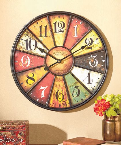 16″ Artistic Vintage Style Multi Color Metal and Wooden Clock Wall Hanging Decor Home Accent Rustic Antiqued Finish Design Decoration