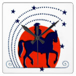 July the 4th horse patriotic Independence Day Square Wall Clock